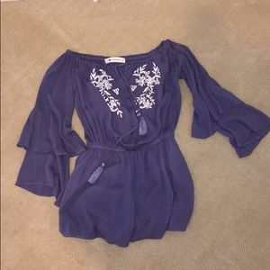 Impeccable Pig Violet Off-the-Shoulder Romper